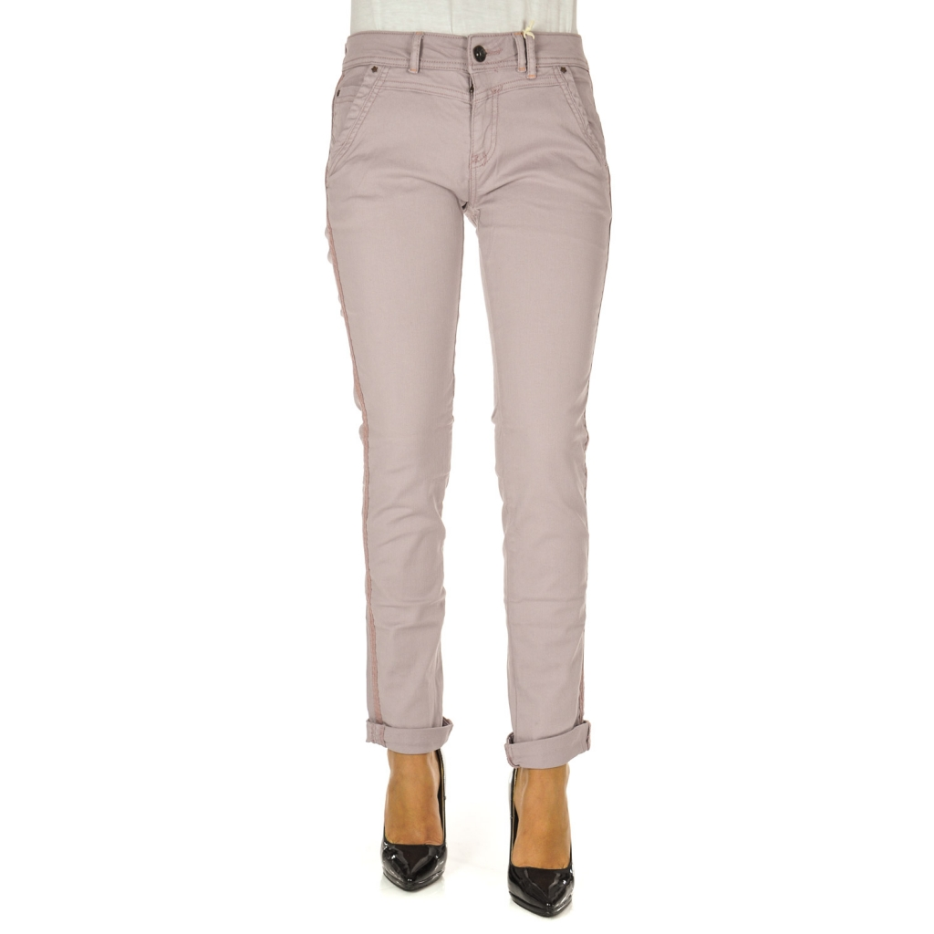 Pantalone donna con banda laterale old rose