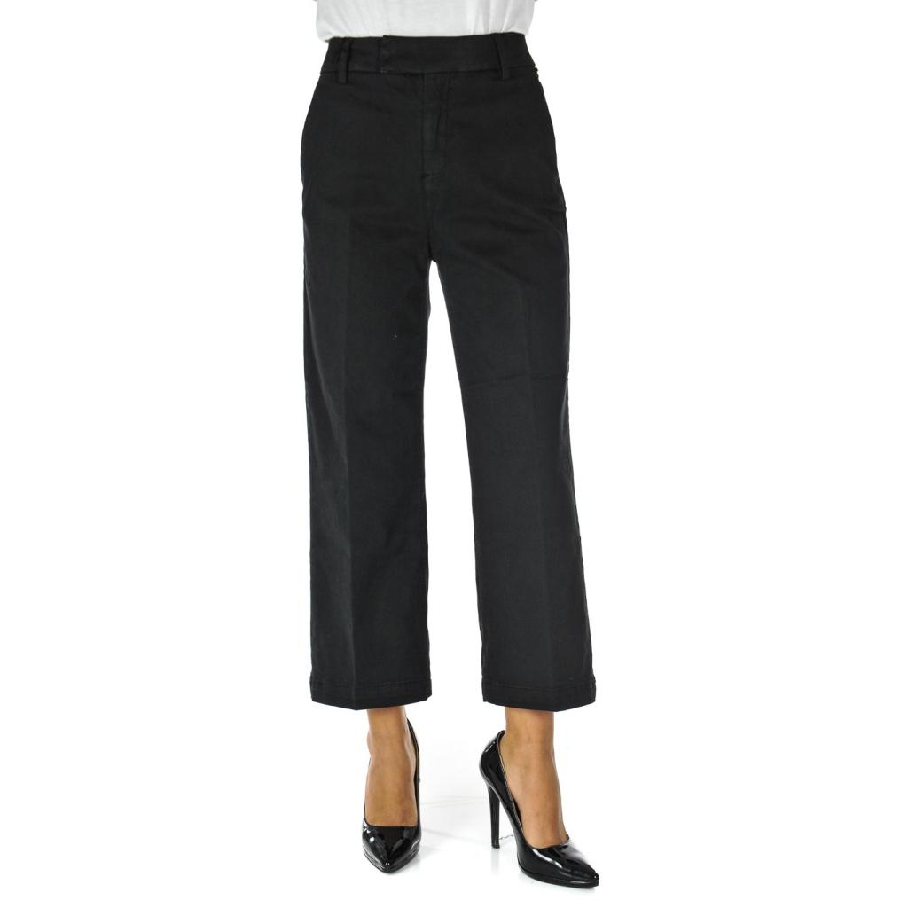 nuovo stile a5c6e 5a214 Roy Rogers - Pantalone donna gaucho 7/8 vita alta Nero - Pantaloni ...