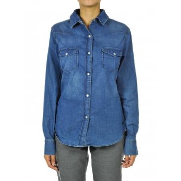Camicia donna denim elasticizzata