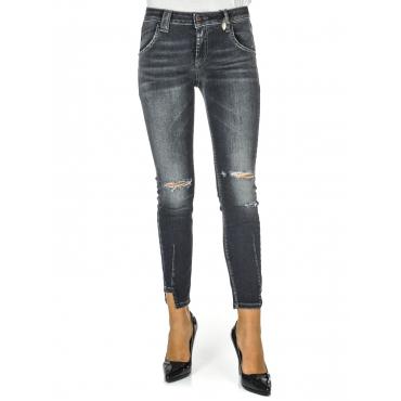 Jeans donna 7/8 con rotture Denim Blk