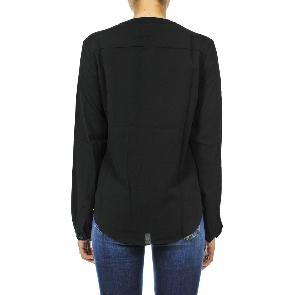 Blusa manica lunga scollo a V BLACK