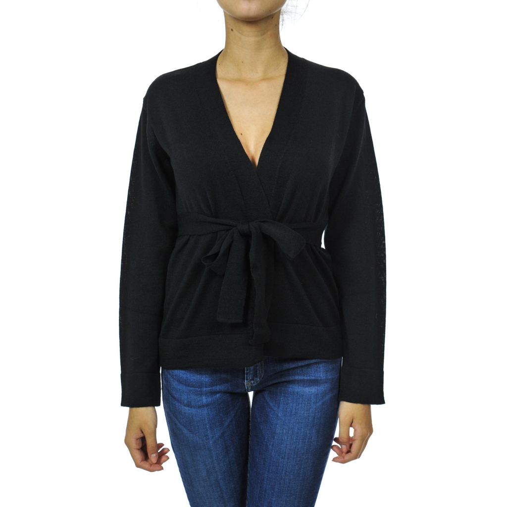 Cardigan corto senza bottoni BLACK