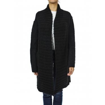Cardigan lunghezza media senza bottoni BLACK