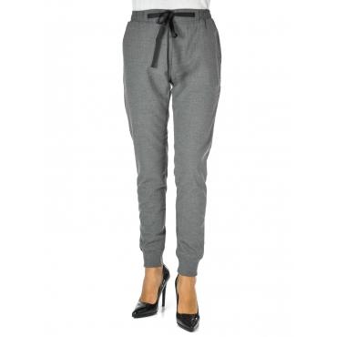 Pantalone morbido polsini alle caviglie paloma grey melange