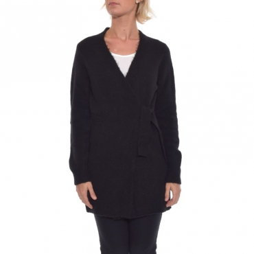 Cardigan lana stretch NERO