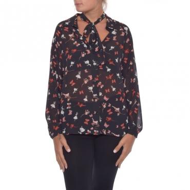 Camicia fiocco con stampa ROSSO/NERO