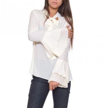 Camicia manica plisse con fiocco NEVE