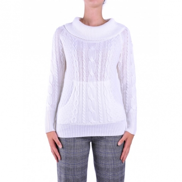 Ws merinos cable turtle neck BIANCO
