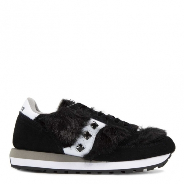 Sneakers Jazz Originals nere con inserti in pelo e maxi pietre BLACK/WHITE