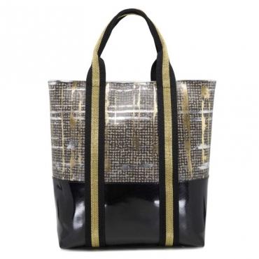 Borsa shopper beige London style con manici nero e oro 9667TWEED
