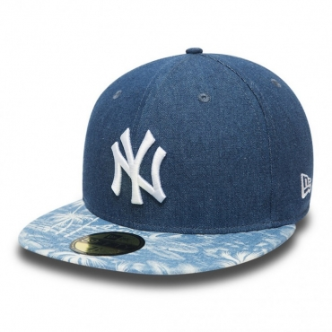 CAPPELLO FITTED NEW ERA CAP FITTED MLB NEW YORK YANKEES DENIM PALM unico