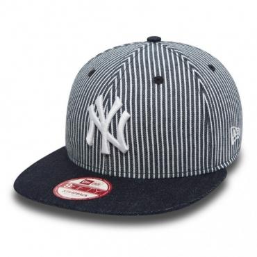 CAPPELLO STRAPBACK NEW ERA CAP STRAPBACK MLB NEW YORK YANKEES PINSTRIPE Denim/White unico