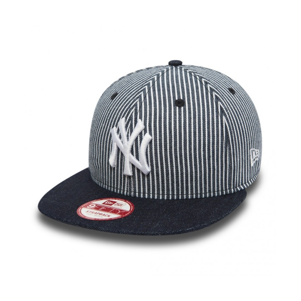 CAPPELLO STRAPBACK NEW ERA CAP STRAPBACK MLB NEW YORK YANKEES PINSTRIPE Denim/White unico