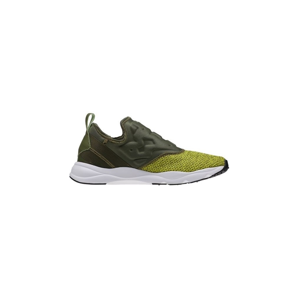SCARPA BASSA REEBOK SHOES FURYLITE SLIP-ON KNIT Green/Hypergreen/White unico