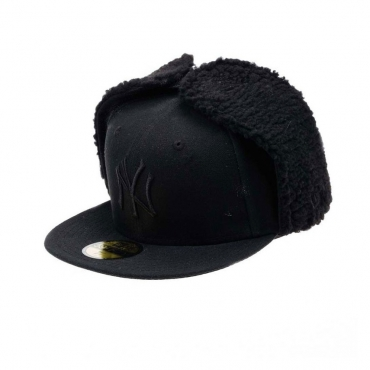 CAPPELLO FITTED NEW ERA CAP FITTED DOGEAR MLB NEW YORK YANKEES BASIC Black On Black unico