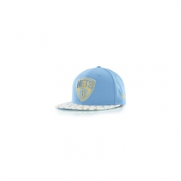 CAPPELLO FITTED NEW ERA CAP FITTED NBA BROOKLYN NETS STAR HOOK Blue  White Gold b648154b635b