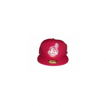 CAPPELLO FITTED NEW ERA CAP FITTED MLB CLEVELAND INDIANS POLY Scarlet/White unico