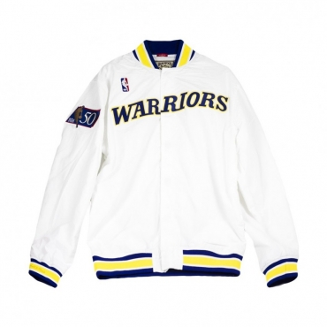 GIUBBOTTO NBA AUTHENTIC WARM UP JACKETS 1996-97 GOLDEN STATE WARRIORS BIANCO
