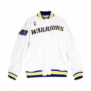 GIUBBOTTO NBA AUTHENTIC WARM UP JACKETS 1996-97 GOLDEN STATE WARRIORS BIANCO