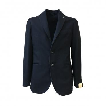 LBM 1911 giacca uomo blu spinato sfoderata 100 cotone invernale vest slim UNICO