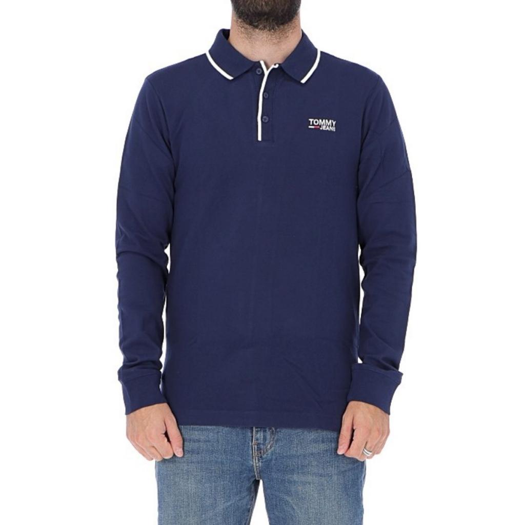 46960812 Tommy Hilfiger Polo Shirt Stretch Long Sleeve 002 BLACK IRIS ...
