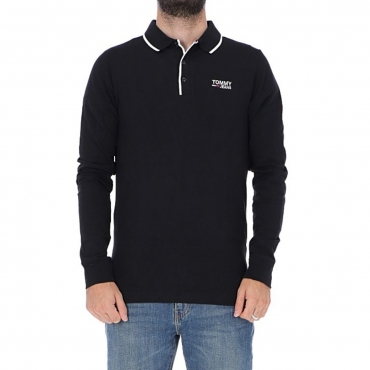 Polo Tommy Hilfiger Uomo Stretch Long Sleeve 078 TOMMY BLACK