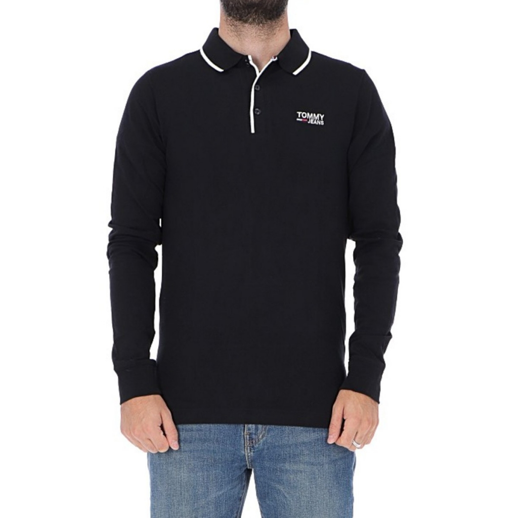 Image of Polo Tommy Hilfiger Uomo Stretch Long Sleeve 078 TOMMY BLACK