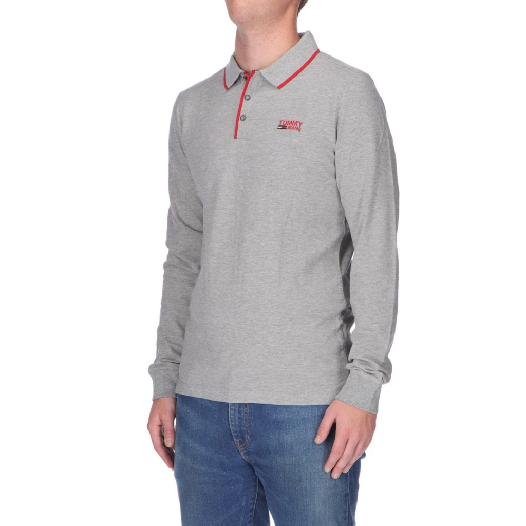 Image of Polo Tommy Hilfiger Uomo Stretch Long Sleeve 038 LT GREY