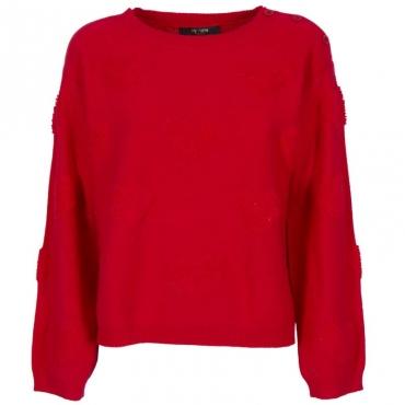 Pullover  in misto lana con cuori 00456PAPAVER