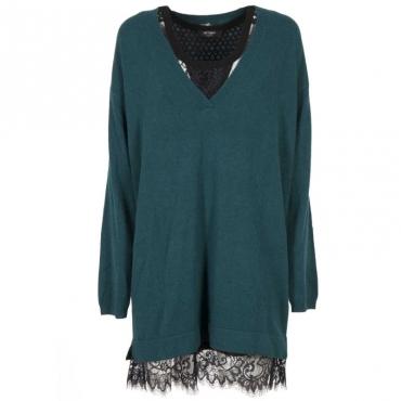 Maxi maglia in misto cashmere con top in pizzo 00638JUNGLE