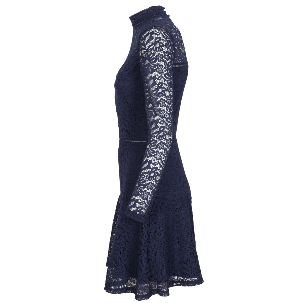 Short dress in lace with high collar C757NEWNAVYB