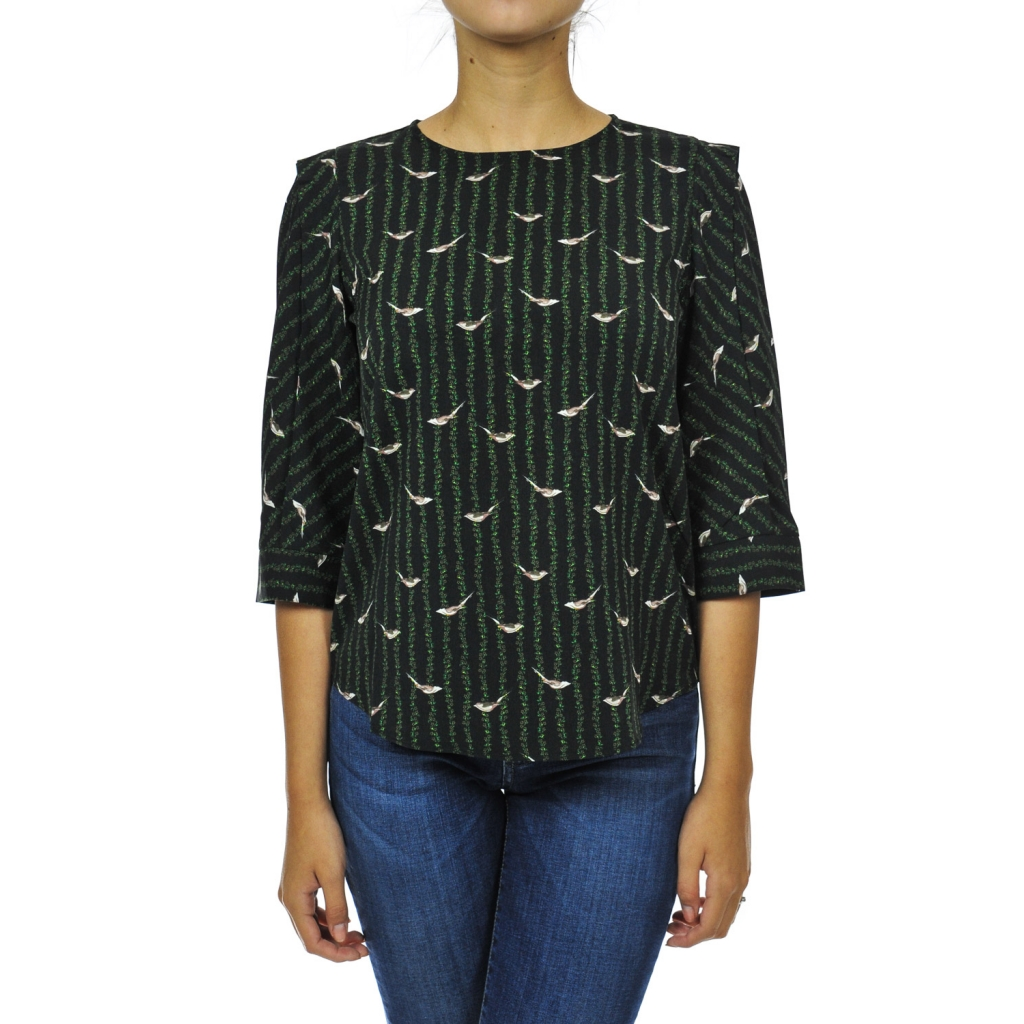 Blouse over with 3/4 sleeve BLACK