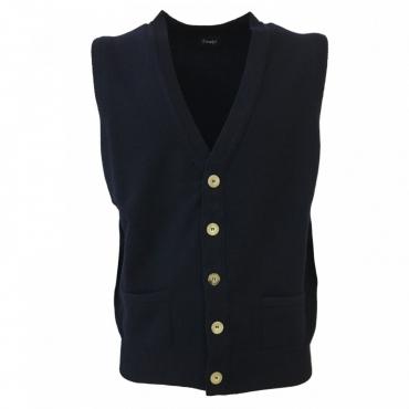 DRAKES gilet uomo lana con bottoni mod VES-WILLIAM-WL340-001 MADE IN SCOTLAND Blu