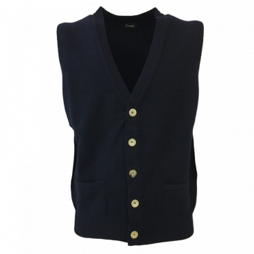 DRAKES gilet uomo lana con bottoni mod VES-WILLIAM-WL340-001 MADE IN SCOTLAND Blu