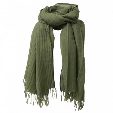 ORDITO sciarpa donna bordino velluto liscio 100 lana mod NARCISO MADE IN INDIA Verde