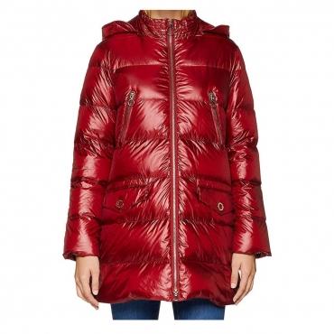 PENNYBLACK piumino donna lungo con cappuccio colore rosso o nero mod ACULEI