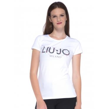 T-shirt donna Liu Jo con stampa lettering bianco BC-NERO