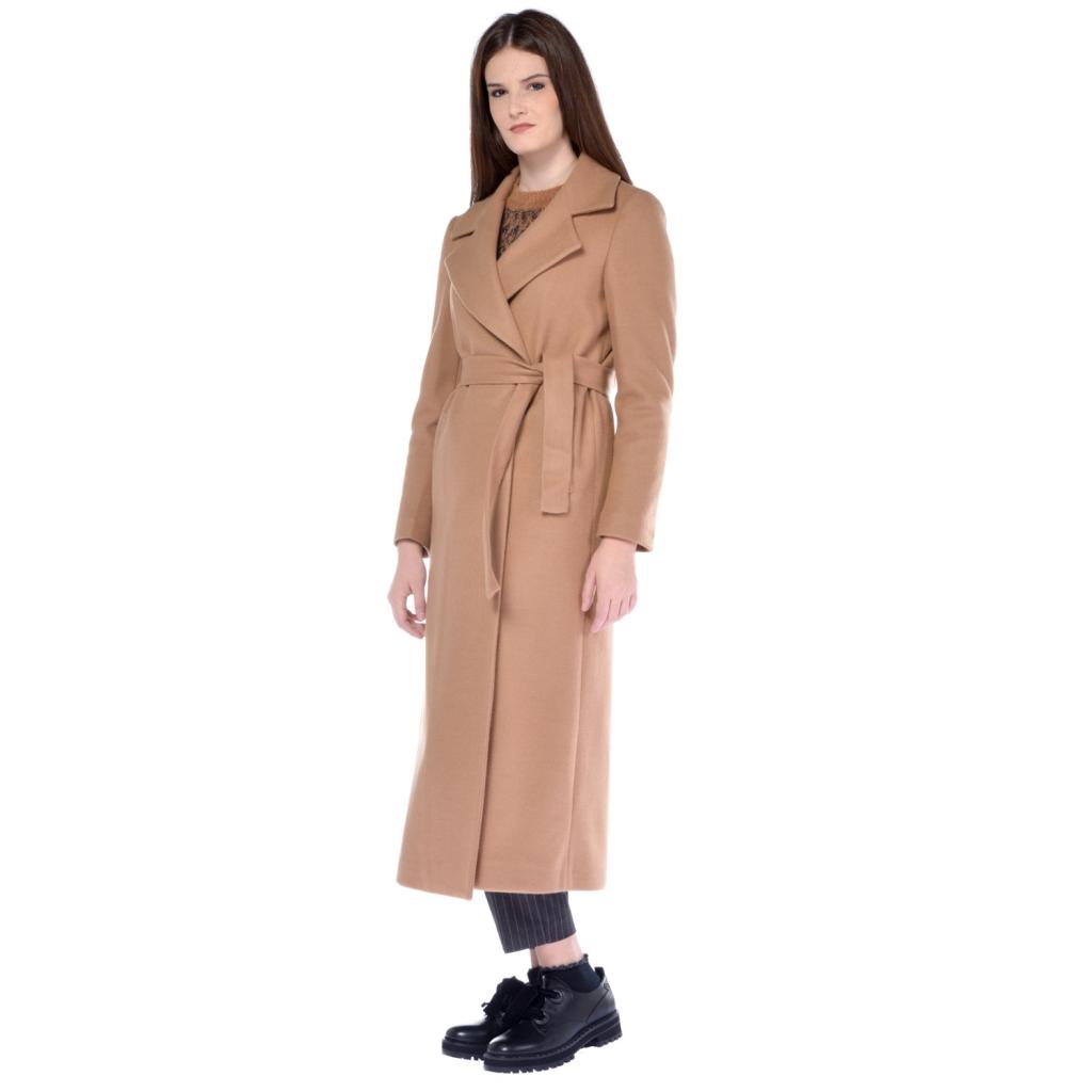 Liu jo - Cappotto lungo donna Liu Jo misto lana con cintura beige C ... d1b7126e373