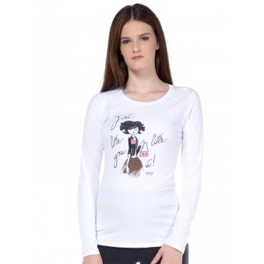 T-shirt a manica lunga donna Liu Jo con applicazioni bianco