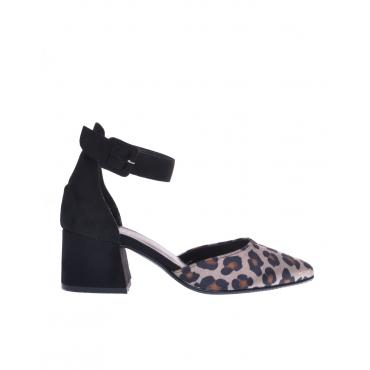 Scarpa donna con cinturino fantasia animalier nero