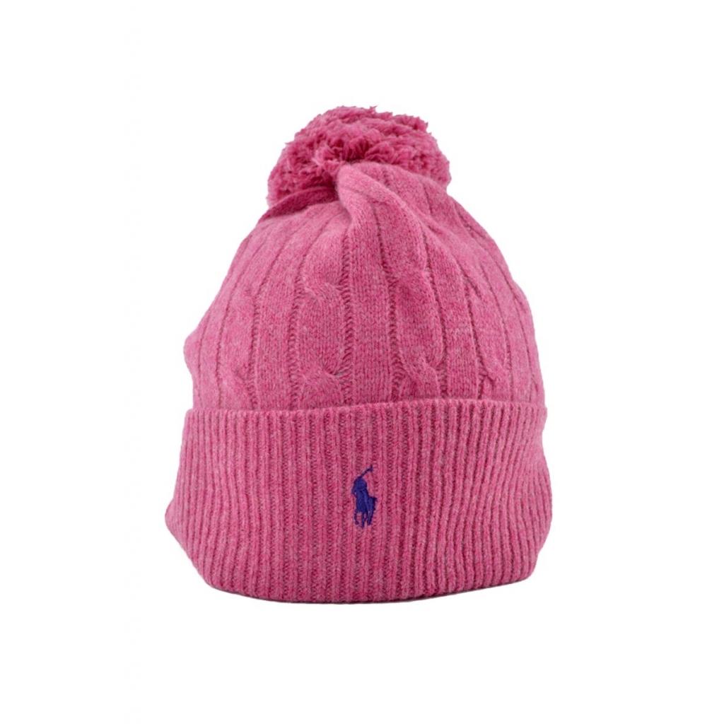 Ralph Lauren - Berretto donna Raplh Lauren in lana con pon pon rosa ... 61fe32a89e82