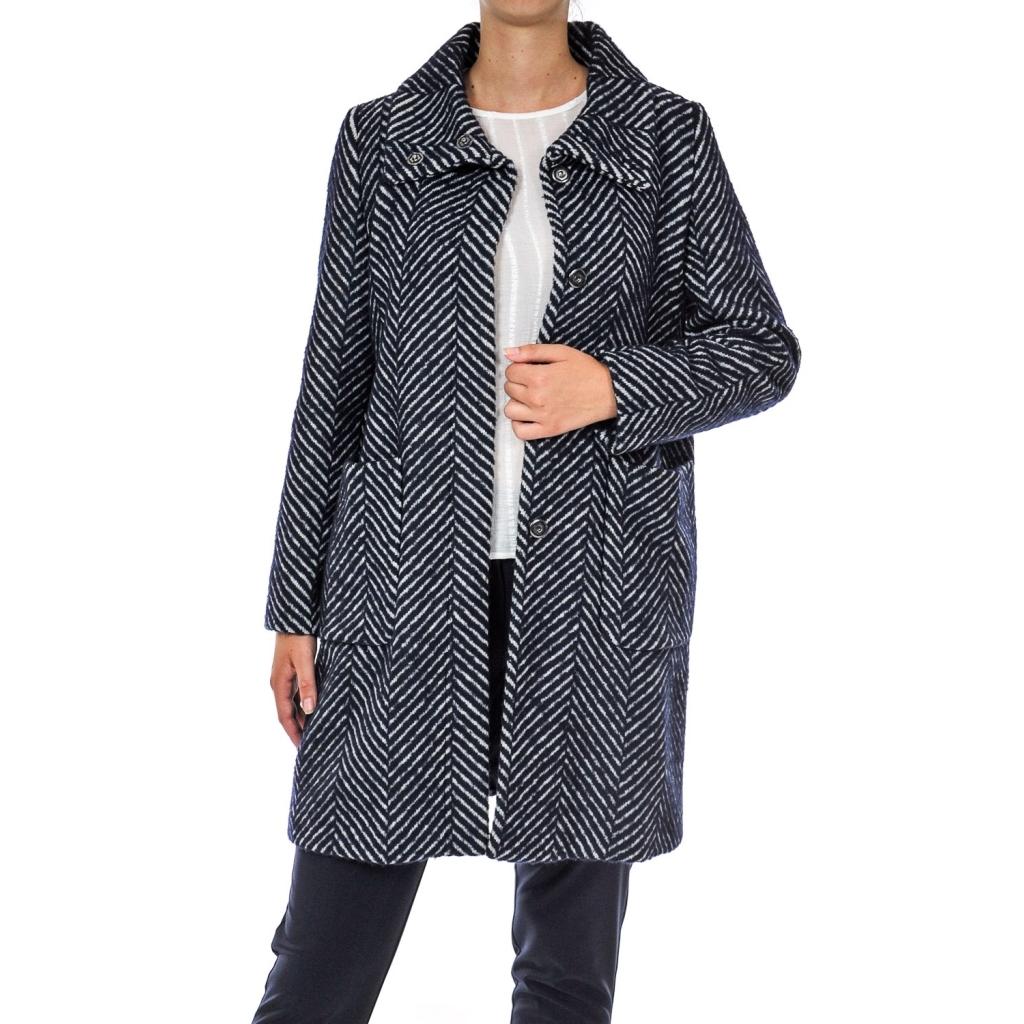 Emme Marella - Cappotto tessuto chevron NAVY - Giacche e Cappotti ... aee50cde63cf