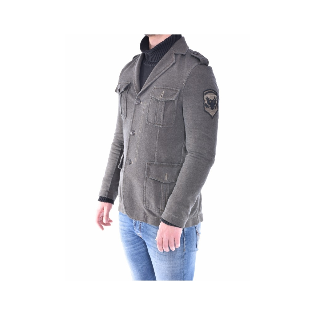 Giacca elast slim fit military chich VERDE MILITARE