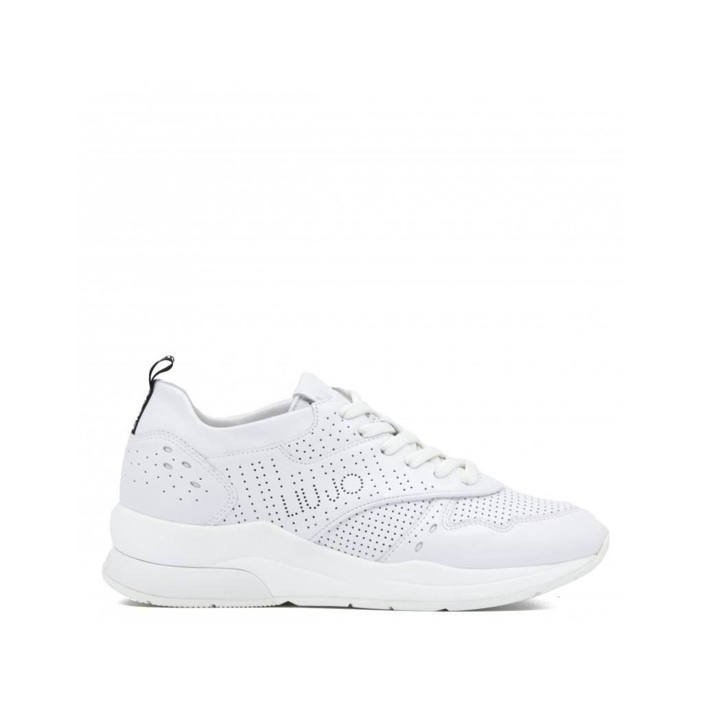 sale retailer 96cf4 03b4e LIU-JO - Sneakers Karlie 14 bianche in pelle LEATHERWHITE - Scarpe ...