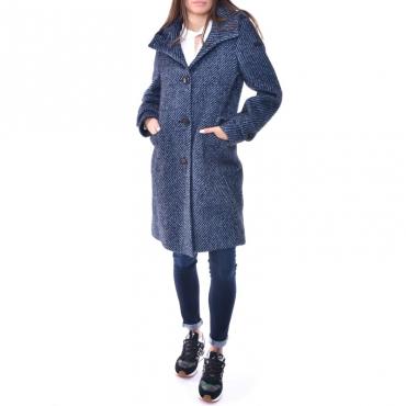 Wool jacquard parka lady BLU NOTTE