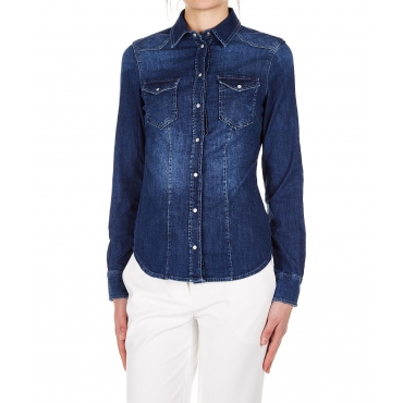 Blusa in denim Blue