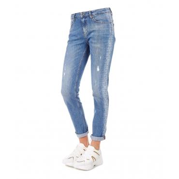 Jeans con dettaglio logo e strass Blue