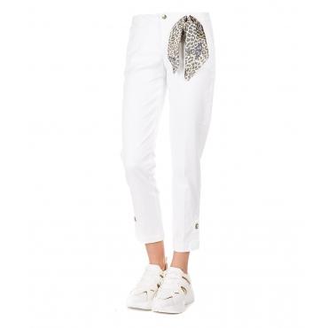 Pantaloni cropped con dettaglio strass White