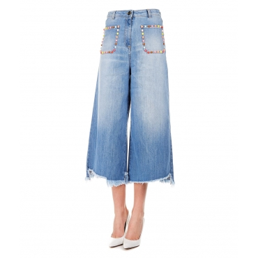 Cropped palazzo jeans Blue