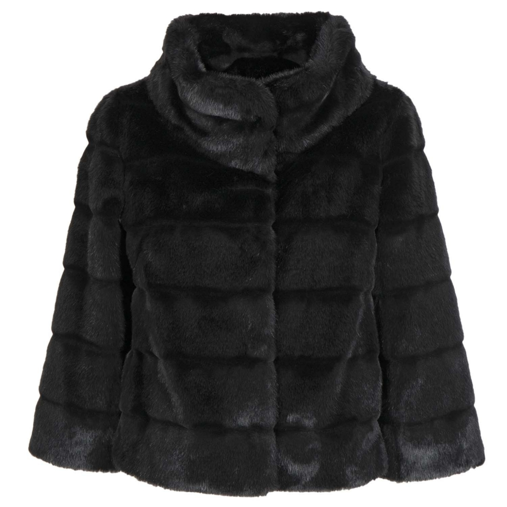 Short faux fur coat with 3/4 sleeve 0700NERO
